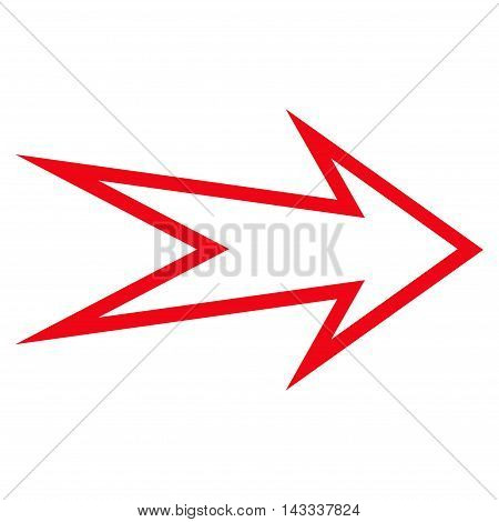 Arrow Right vector icon. Style is stroke icon symbol, red color, white background.