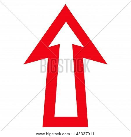 Arrow Up vector icon. Style is thin line icon symbol, red color, white background.