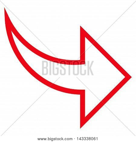 Redo vector icon. Style is thin line icon symbol, red color, white background.