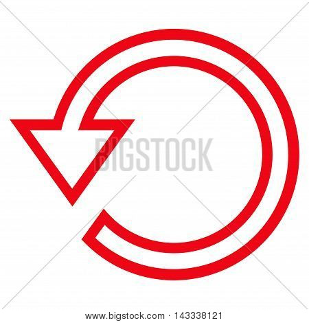 Rotate vector icon. Style is thin line icon symbol, red color, white background.