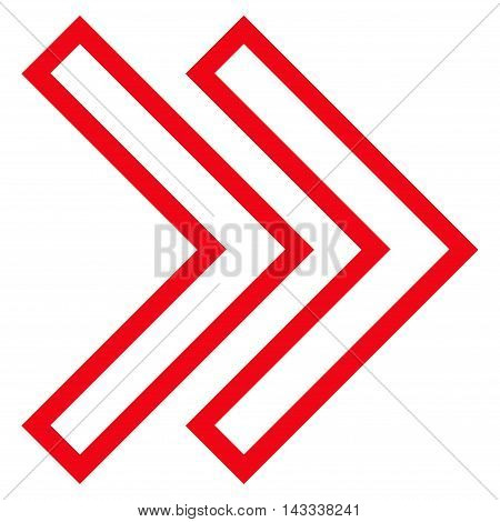 Shift Right vector icon. Style is outline icon symbol, red color, white background.