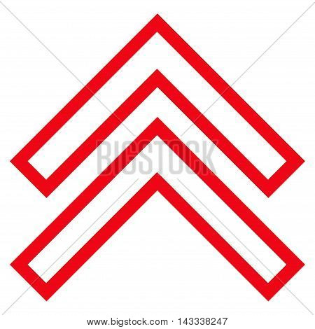 Shift Up vector icon. Style is contour icon symbol, red color, white background.