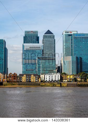Canary Wharf Skyline In London (hdr)