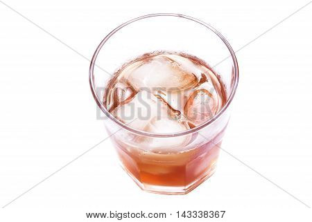 Glass Of Soda With Ice From Above