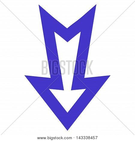 Arrow Down vector icon. Style is stroke icon symbol, violet color, white background.