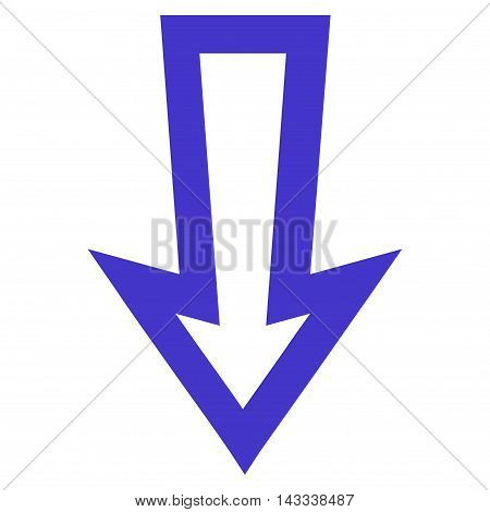 Arrow Down vector icon. Style is outline icon symbol, violet color, white background.