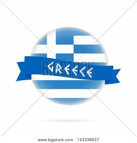 Greece Flag With Blue Ribbon Illustration In Colorful