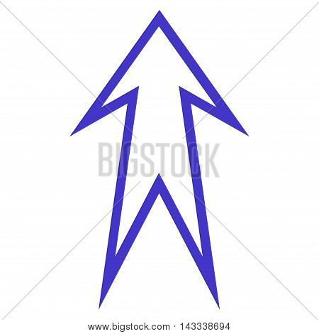 Arrow Up vector icon. Style is outline icon symbol, violet color, white background.