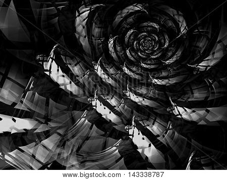 Abstract fractal flower - computer-generated image checkered. Digital art: unusual rose in technology style. Plaid texture with light effects