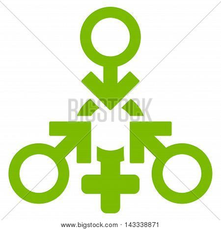 Triple Penetration Sex icon. Vector style is flat iconic symbol with rounded angles, eco green color, white background.