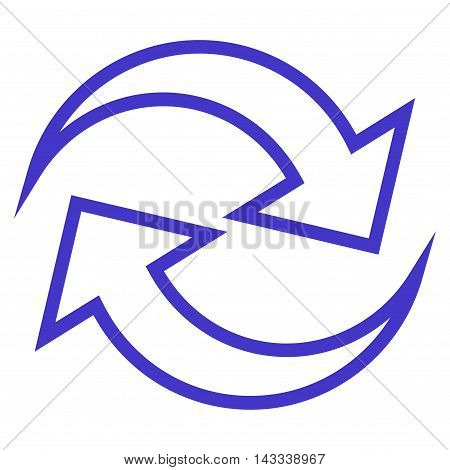 Refresh Arrows vector icon. Style is thin line icon symbol, violet color, white background.