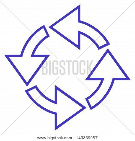 Rotation vector icon. Style is contour icon symbol, violet color, white background.