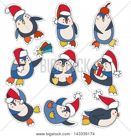 Set cartoon patch badges or fashion pin badges.Penguin in christmas hat hand drawn vector full color sketch.