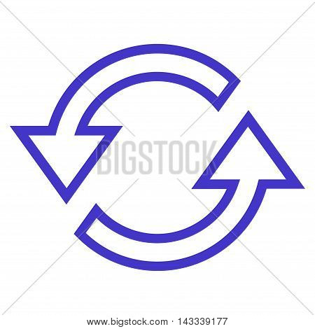 Sync Arrows vector icon. Style is outline icon symbol, violet color, white background.