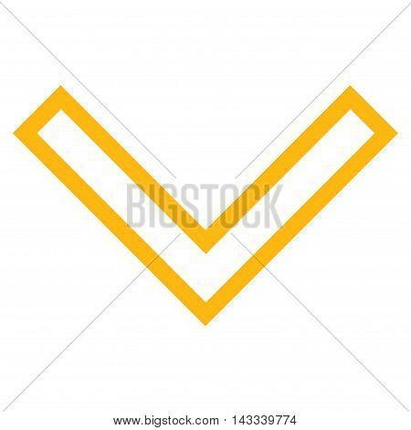 Arrowhead Down vector icon. Style is outline icon symbol, yellow color, white background.
