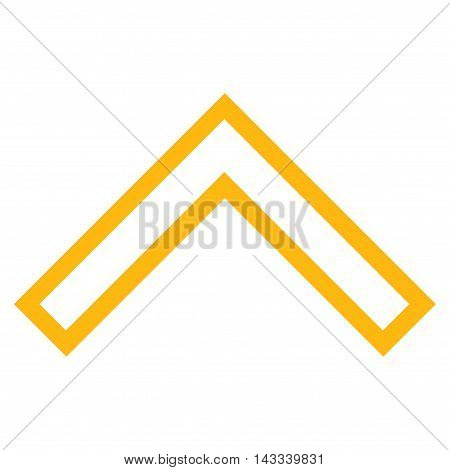 Arrowhead Up vector icon. Style is outline icon symbol, yellow color, white background.