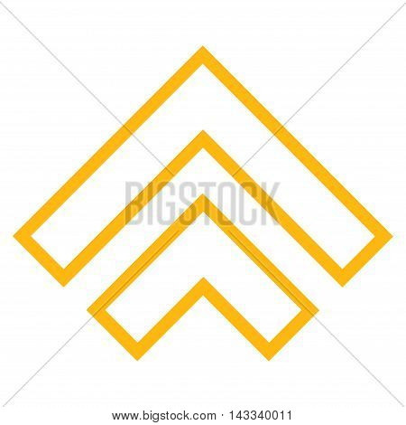 Direction Up vector icon. Style is outline icon symbol, yellow color, white background.