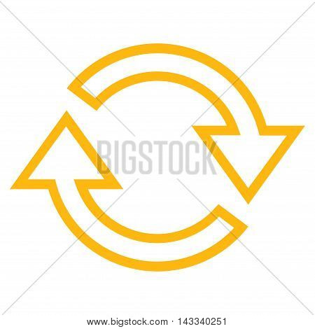 Refresh Arrows vector icon. Style is contour icon symbol, yellow color, white background.