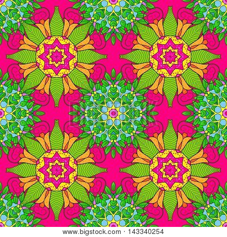 Vector boho chic flower seamless pattern. Mandala design element. Unusual flourish ornament. Blue green yellow lilac orange. Vector illustaration.