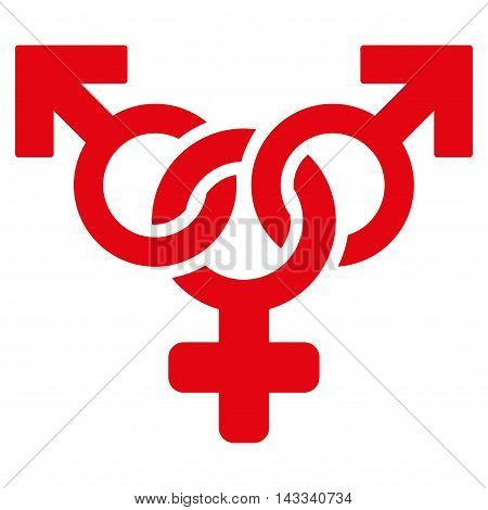 Polyandry icon. Vector style is flat iconic symbol with rounded angles, red color, white background.