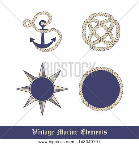 Vector Vintage Marine Elements Graphic Collection, Anchor, Knot, Rope and Compass