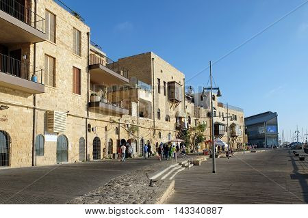 JAFFA ISRAEL - AUGUST 07 2016: Ancient houses on the quay in Old Jaffa