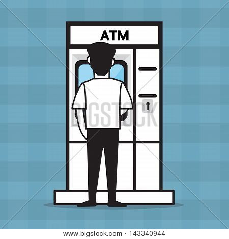 ATM and a man , vector design for business.