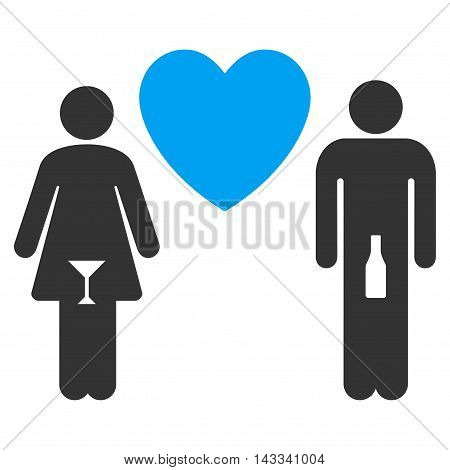 Drunky Love Pair icon. Vector style is bicolor flat iconic symbol with rounded angles, blue and gray colors, white background.