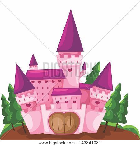 Vector Cartoon Illustration of a Cute Pink Castle Background