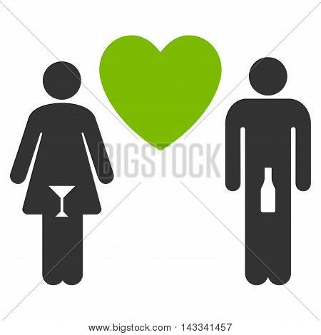 Drunky Love Pair icon. Vector style is bicolor flat iconic symbol with rounded angles, eco green and gray colors, white background.