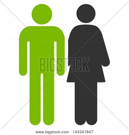 Married Couple icon. Vector style is bicolor flat iconic symbol with rounded angles, eco green and gray colors, white background.