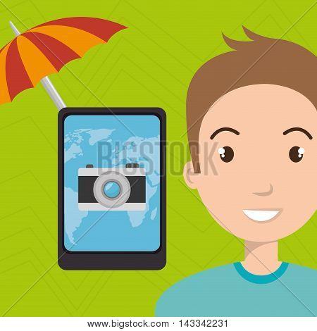umbrella man camera technology vector illustration  design