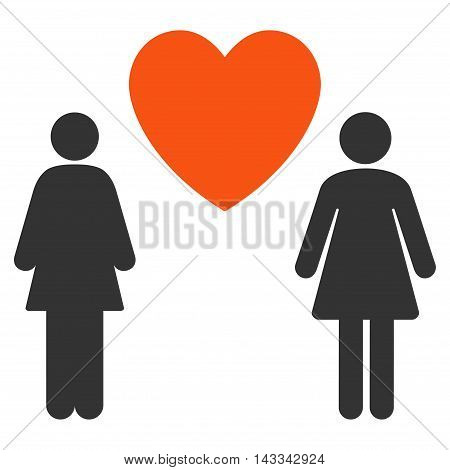 Lesbi Love Pair icon. Vector style is bicolor flat iconic symbol with rounded angles, orange and gray colors, white background.