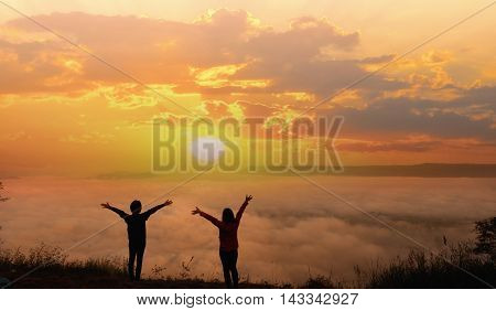 Free Happy Woman Enjoying Nature on sunrise