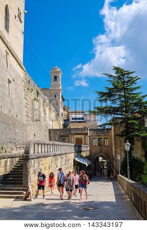 San-Marino - August, 8, 2016: a road in a center of San-Marino, one of the smallest counties in the world