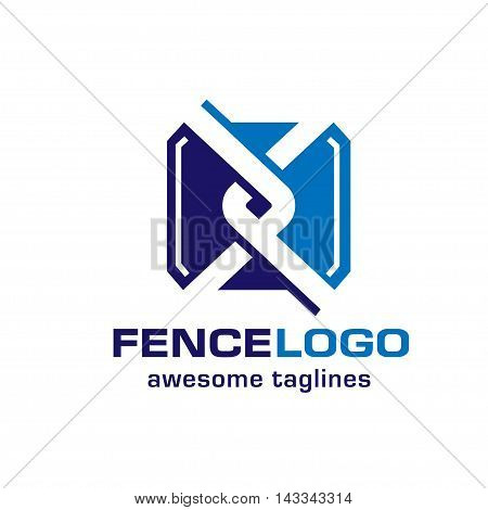 chain link fence, fence creative symbol concept. Home and garden decoration logo