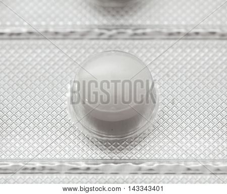 Pills In Packing Close-up Isolated On White Background