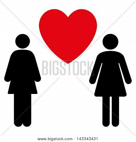 Lesbi Love Pair icon. Vector style is bicolor flat iconic symbol with rounded angles, intensive red and black colors, white background.
