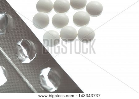 Empty Packing From Tablets And Pills Isolated On White Backgroun