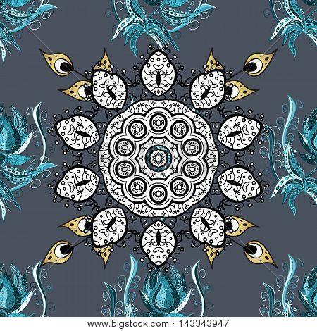 Oriental seamless pattern of mandalas. Vector blue background.