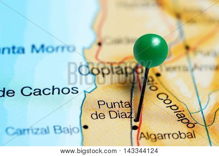 Punta de Diaz pinned on a map of Chile
