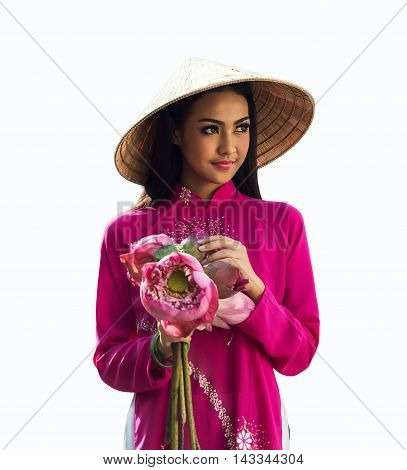 Portrait of Vietnamese girl traditional dress with lotus on white background