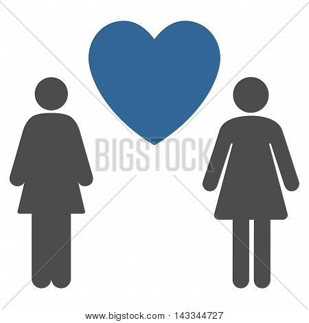 Lesbi Love Pair icon. Vector style is bicolor flat iconic symbol with rounded angles, cobalt and gray colors, white background.