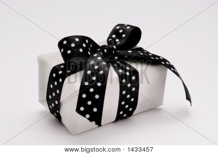 Small Gift With A Polka Dots Ribbon