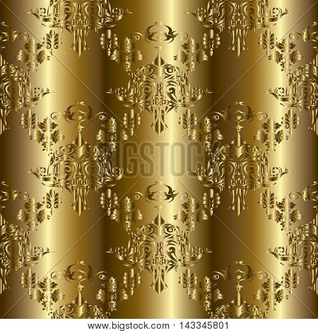 Gold modern vector seamless pattern background with vintage beautiful gold ornaments. Luxury illustration and royal 3d decor elements with shadow and highlights. Endless elegant  texture.