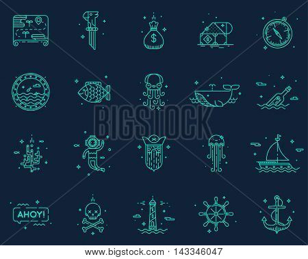 Summer, travel pirate icons set symbol vector