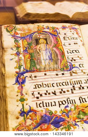 Ancient Book In The Museum Of The Siena Cathedral
