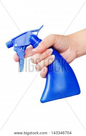 Blue Spray Bottle In Hand Isolated On White Background