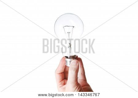 Light Bulb In A Hand Isolated On White Background