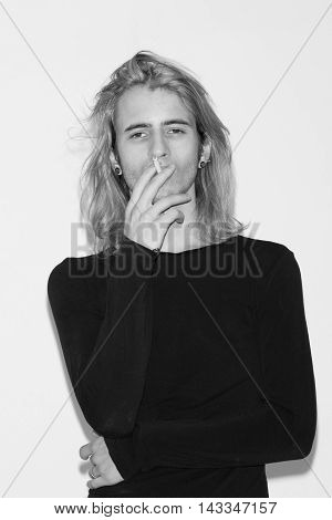 Young Man Fashion Model Polaroids Snapshots Black And White